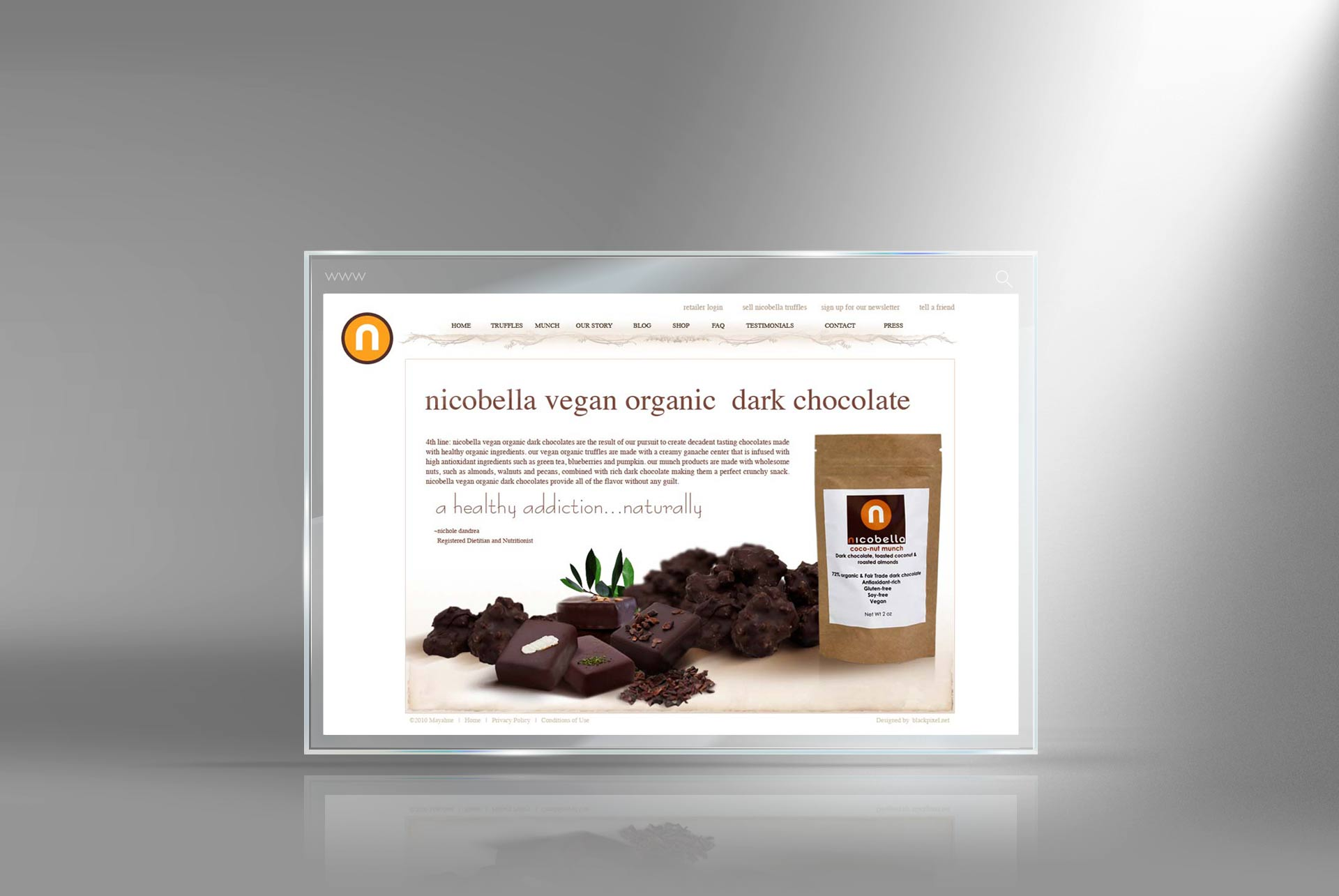 Organic Chocolate website